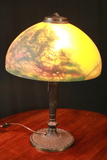 1920's Reverse Painted Lamp With Metal Base