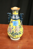Vintage Yellow Crackle Vase Formalities By Braums Brothers Imperial Peony