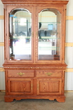 Oak China Cabinet with Glass Shelves