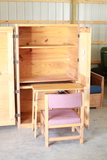 Crate Style Desk Cabinet with Chair