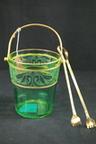 Green Ice Bucket With Tongs