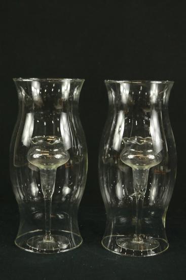 2 Glass Globes & 2 Glass Candlesticks