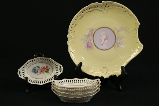 5 German Reticulated Condiment Trays & Cameo German Plate