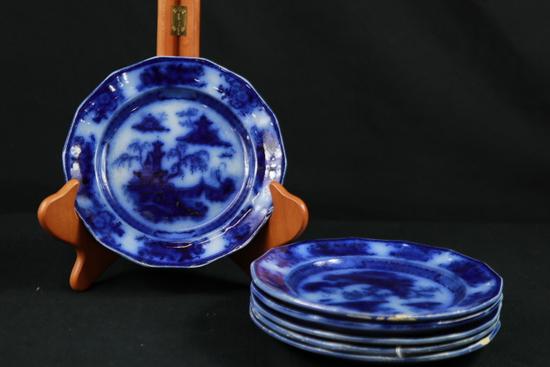 6 Blue Ironstone Pelew Plates