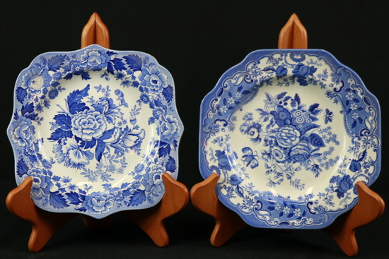 4 Assorted Blueware Plates