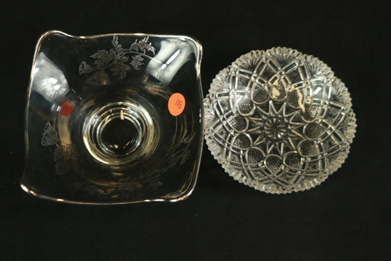 Glass Bowl With Silver Overlay & Crystal Bowl
