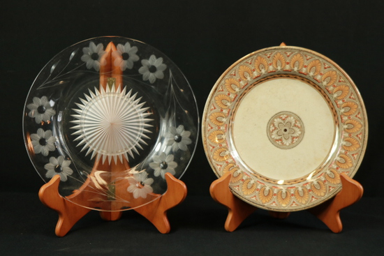 Etched Glass Plate & Porcelain Plate