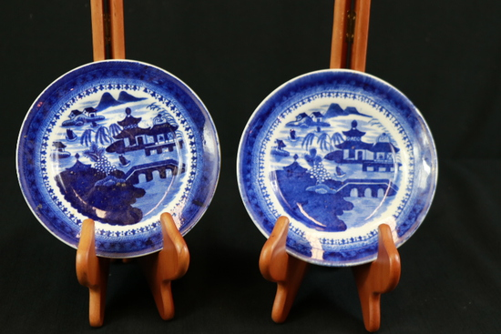 2 Blueware Plates & English Blueware Tile