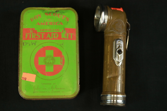 Boy Scouts Of America First Aid Kit & Boy Scout Flashlight