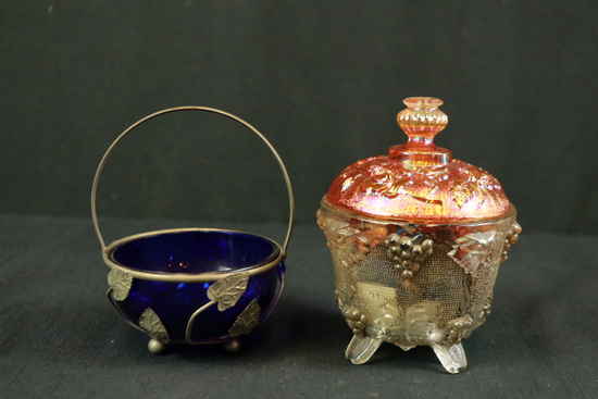 Carnival Glass Bowl & Blue Glass Basket