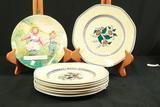 7 Crescent China Plates