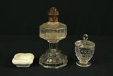 Oil Lamp, Fostoria Sugar Bowl & Porcelain Bowl