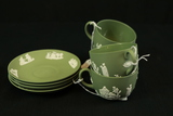 4 Green Wedgwood Cup & Saucers