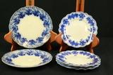 7 Flow Blue Plates