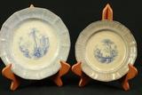 2 English Blueware Plates