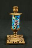 Brass & Cloisenne Candlestick
