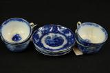 4 Flow Blue Cups & Saucers