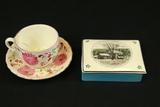 English Cigarette Box, Cup & Saucer