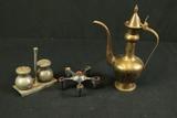 Brass Pitcher, CandleStand & Salt & Pepper