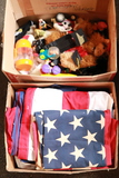 2 Boxes of Animals, Flags & Flag Pole
