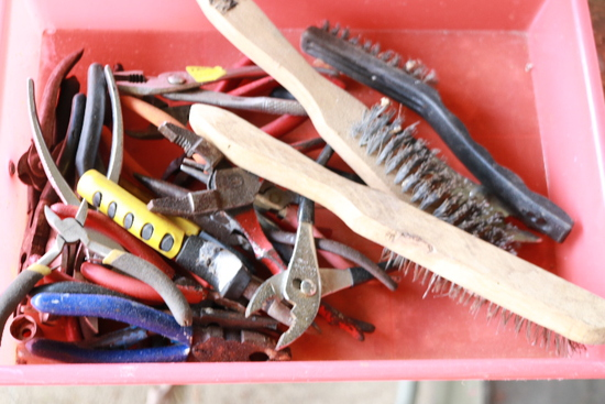 Box of Assorted Pliers & Wire Brushes