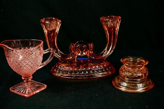 3 Pieces of Assorted Pink Depression Glass
