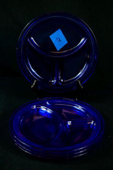 4 Blue Depression Glass Grill Plates