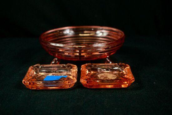 2 Pink Depression Glass Ashtrays, Manhattan Pattern Footed Bowl