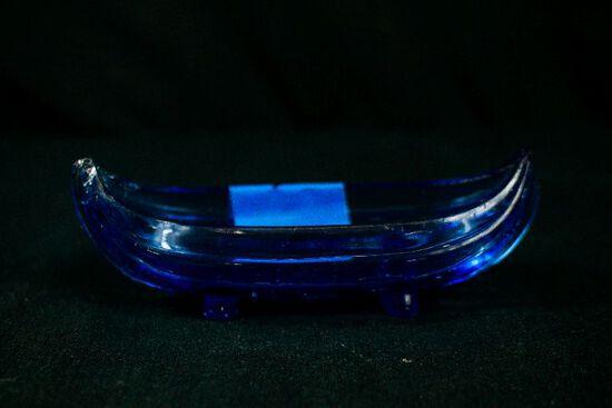 Blue Depression Glass Gondola Bowl