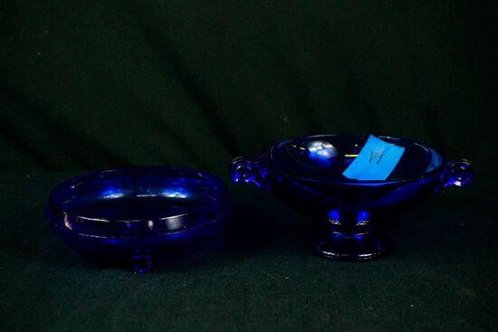 2 Blue Depression Glass Bowls