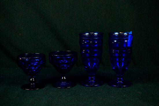 4 Pieces Blue Glass Stemware