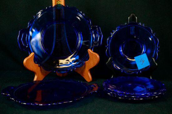 6 Pieces of Blue Depression Glass