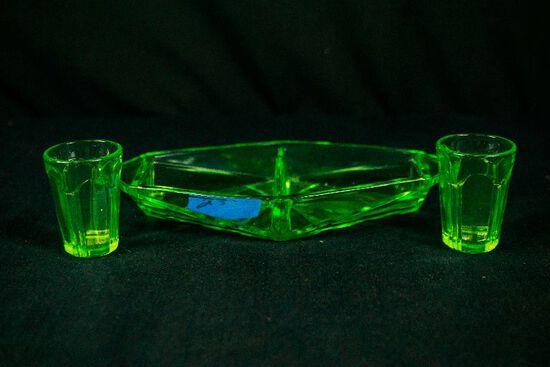 Green Depression Glass Divided Tray & 2 Shot Glasses
