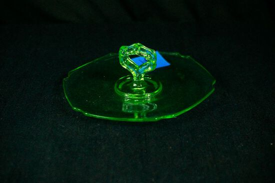 Green Depression Glass Center Handled Tray