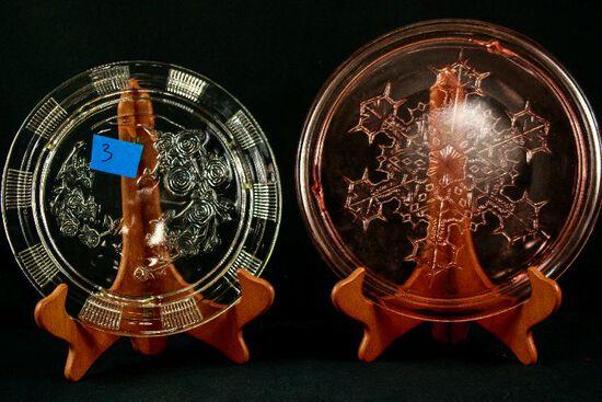 2 Depression Glass Cake Plates