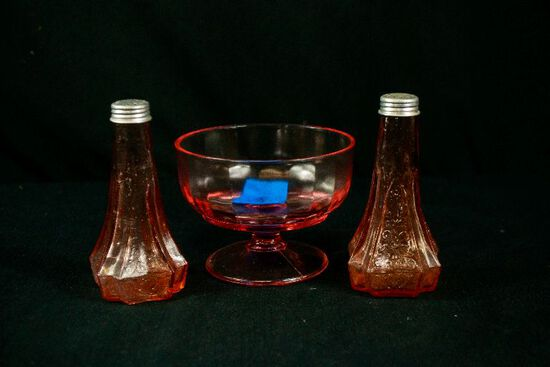 3 Pieces of Pink Depression Glass