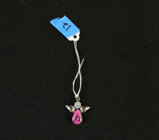 Sterling Silver Angel Pendant With Pink Ice