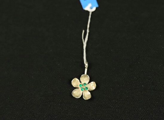 Sterling Silver Emerald Flower Pendant
