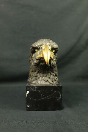 Brass Eagle Head On Marble Base