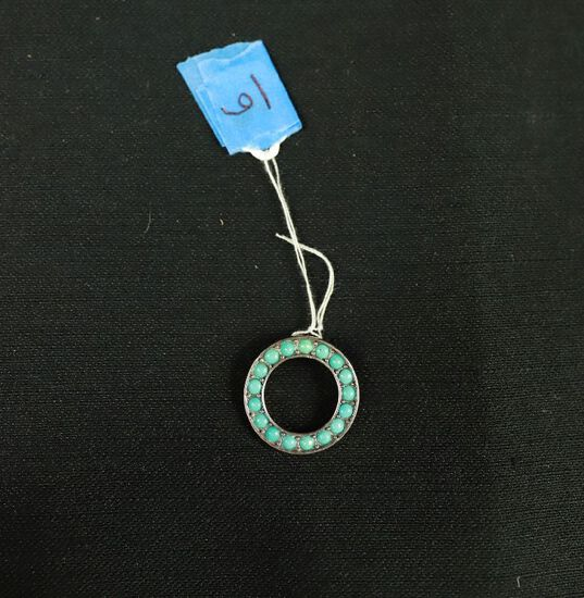 Turquoise Round Slider Sterling Silver