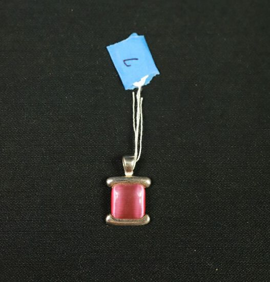 Sterling Silver Pendant With Pink Moonstone