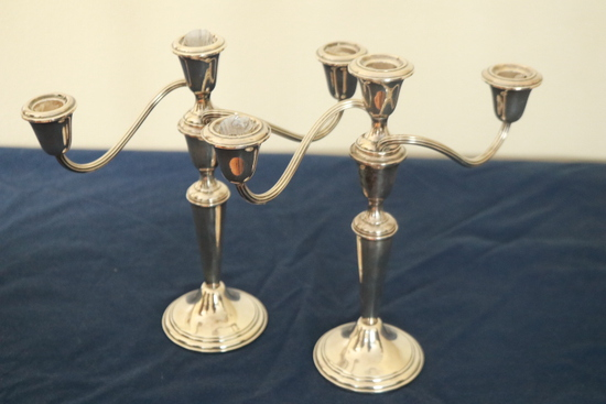 Pair Of Gorham Sterling Silver Candle Sticks