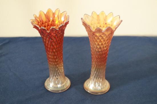 2 Carnival Glass Vases