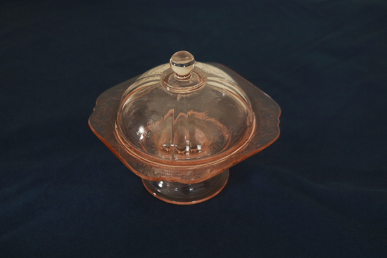 Pink Depression Glass Butter Dish