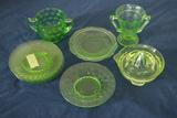 Depression Glass Juicer, 5 Plates, & 2 Cups