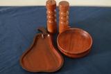 Wooden Tray, Bowl, & Salt/Pepper Shakers