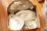 Box Of Misc. Glassware & Silver Plate