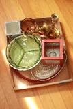 Brass Candlesticks & Misc. Glassware