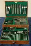 Set Of English Silver Flatware In Box