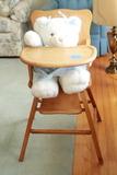 Wooden High Chair & Stuffed Bear
